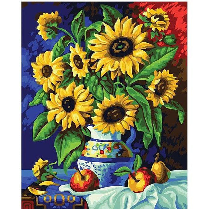 DIY Paint by Number kit for Adults on Canvas-Sunflower Vase-40x50cm (16x20inches)