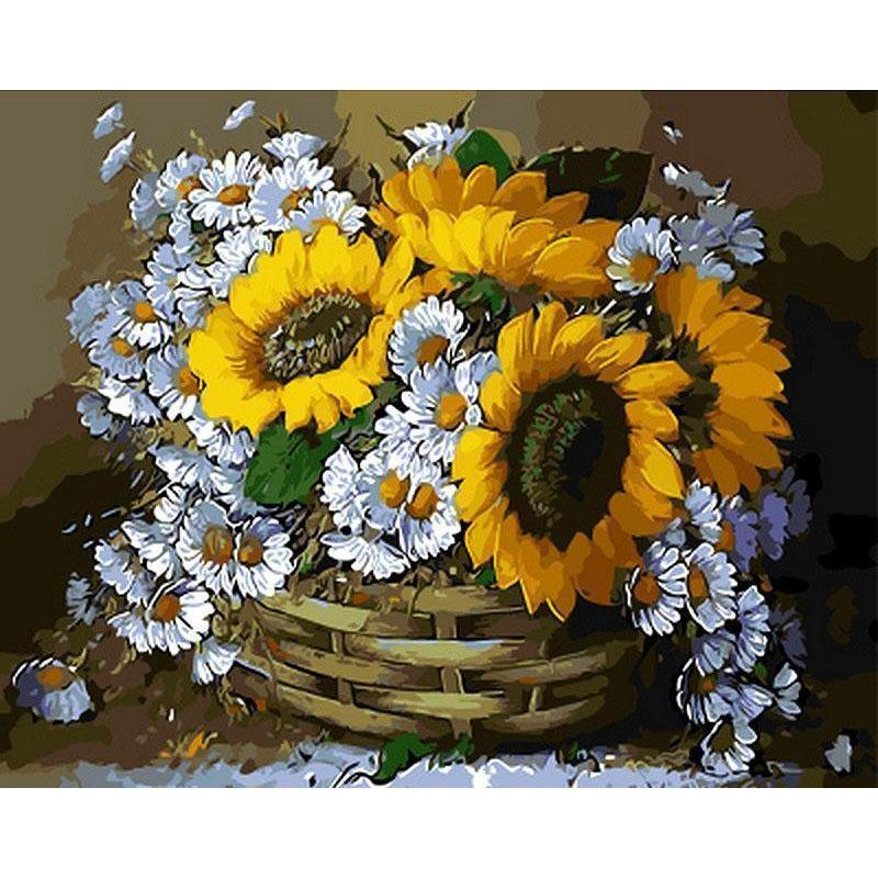 DIY Paint by Number kit for Adults on Canvas-Sunflowers and Daisies-40x50cm (16x20inches)