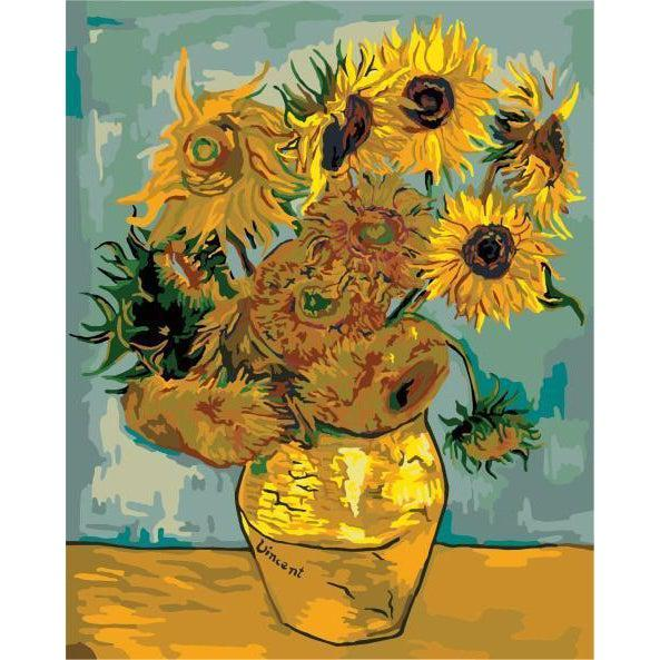 DIY Paint by Number kit for Adults on Canvas-Sunflowers - Van Gogh 1888-Clean PBN
