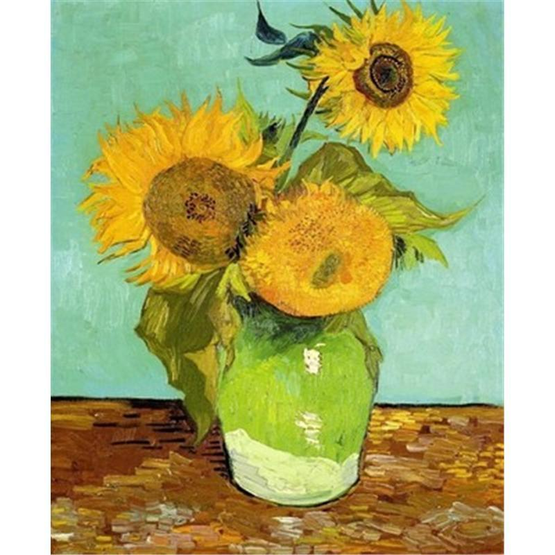 DIY Paint by Number kit for Adults on Canvas-Sunflowers - Van Gogh-Clean PBN