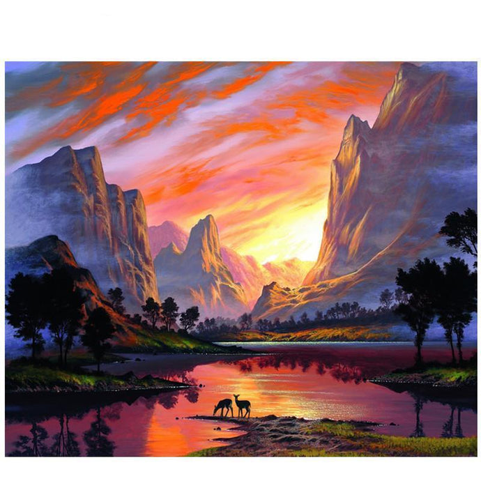 DIY Paint by Number kit for Adults on Canvas-Sunset at the Watering Hole-40x50cm (16x20inches)