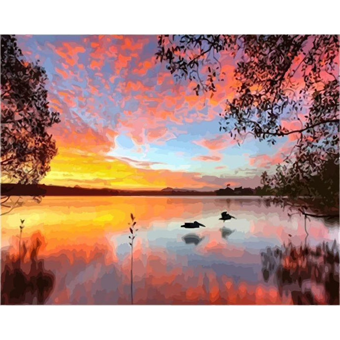 DIY Paint by Number kit for Adults on Canvas-Sunset on the Lake-40x50cm (16x20inches)