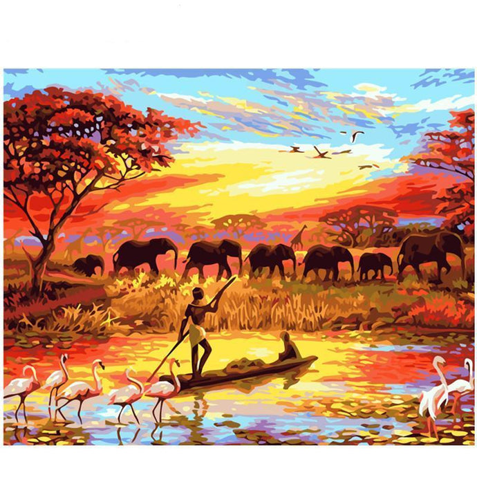 DIY Paint by Number kit for Adults on Canvas-Sunset on the Nile-40x50cm (16x20inches)