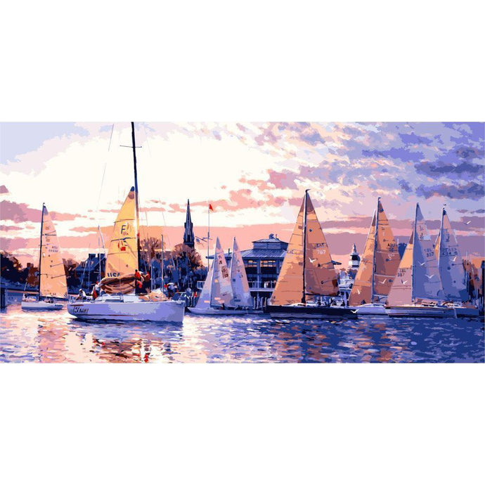 DIY Paint by Number kit for Adults on Canvas-Sunsets and Sailboats [EXTRA Large Print]-50x100cm (20x40inches)