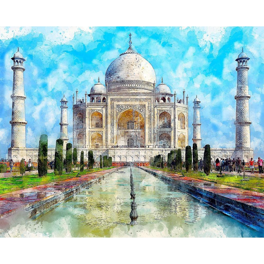 DIY Paint by Number kit for Adults on Canvas-Taj Mahal-Home