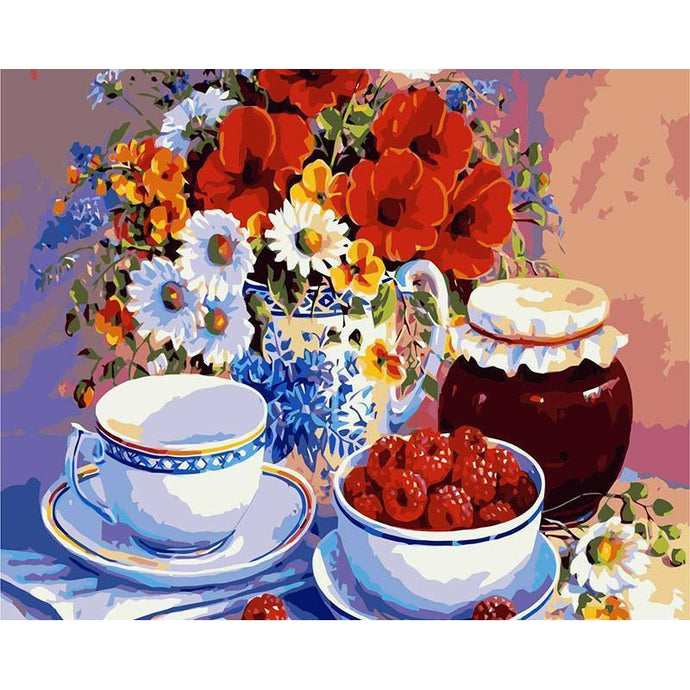 DIY Paint by Number kit for Adults on Canvas-Tea, Berries, and Flowers-30x40cm (12x16inces)