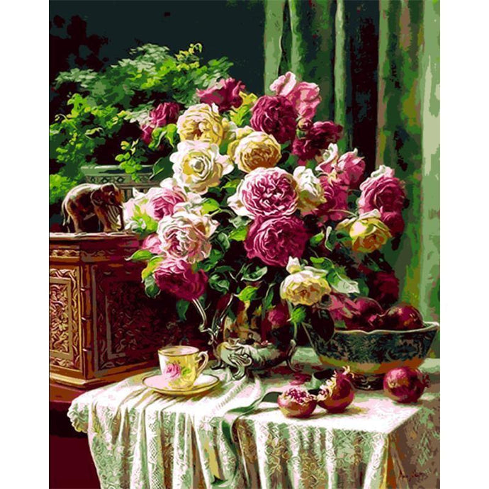 DIY Paint by Number kit for Adults on Canvas-Tea Time with Flowers-40x50cm (16x20inches)