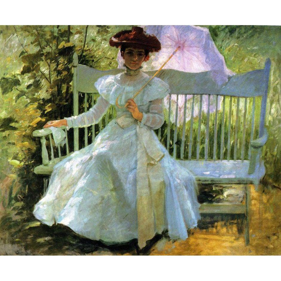DIY Paint by Number kit for Adults on Canvas-That Summer Afternoon in My Garden - Frank Duveneck - 1900-Clean PBN