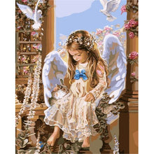 DIY Paint by Number kit for Adults on Canvas-The Angel and the Dove-40x50cm (16x20inches)