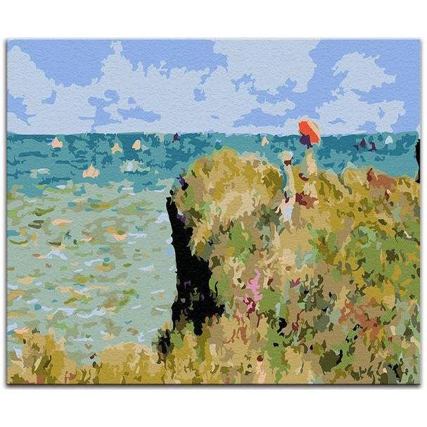 DIY Paint by Number kit for Adults on Canvas-The Cliff Walk at Pourville - Claude Monet-Clean PBN