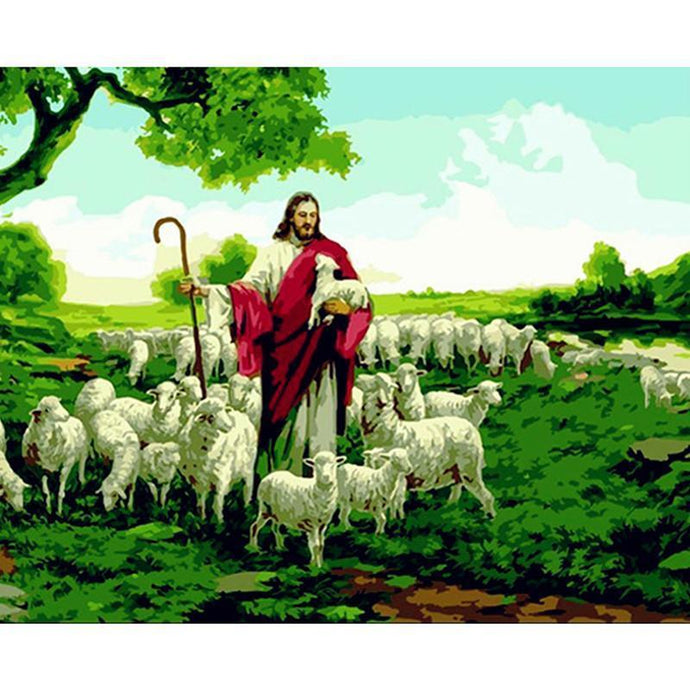 DIY Paint by Number kit for Adults on Canvas-The Good Shepherd-40x50cm (16x20inches)