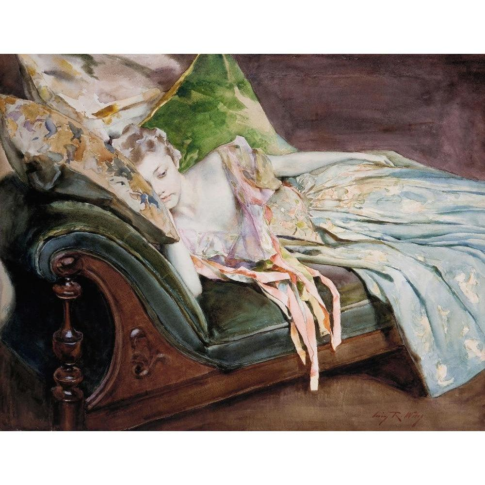 DIY Paint by Number kit for Adults on Canvas-The Green Cushion - Irving Ramsey Wiles - 1895-Clean PBN