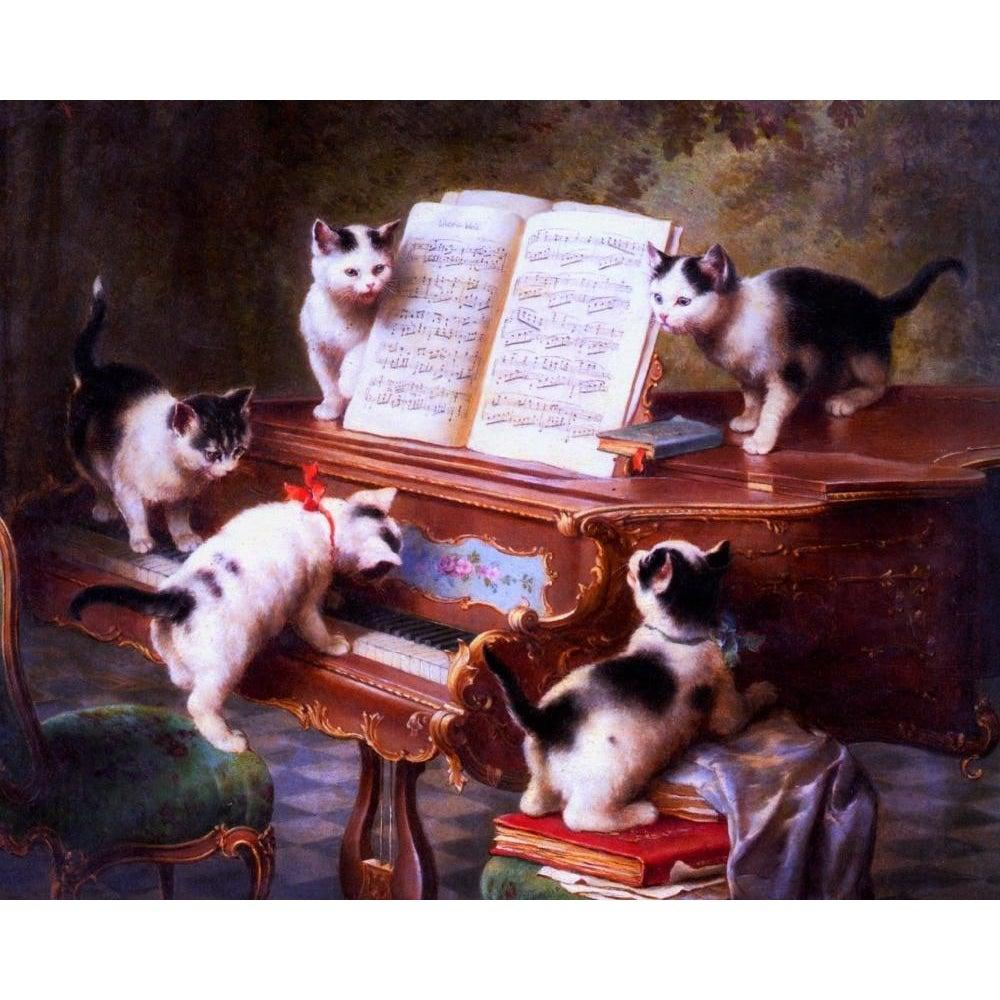 DIY Paint by Number kit for Adults on Canvas-The Kittens Recital - Carl Reichert - 1908-Clean PBN