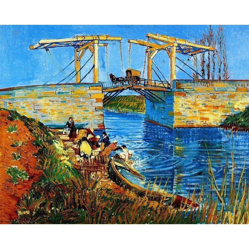 DIY Paint by Number kit for Adults on Canvas-The Langlois Bridge at Arles with Women Washing - Van Gogh - 1888-Clean PBN