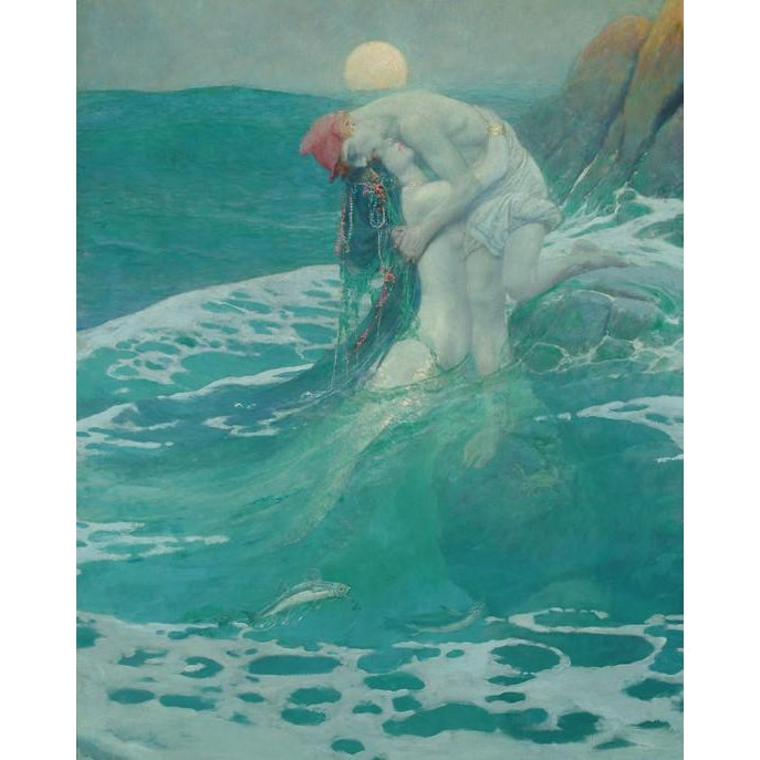 DIY Paint by Number kit for Adults on Canvas-The Mermaid - Howard Pyle - 1910-Clean PBN