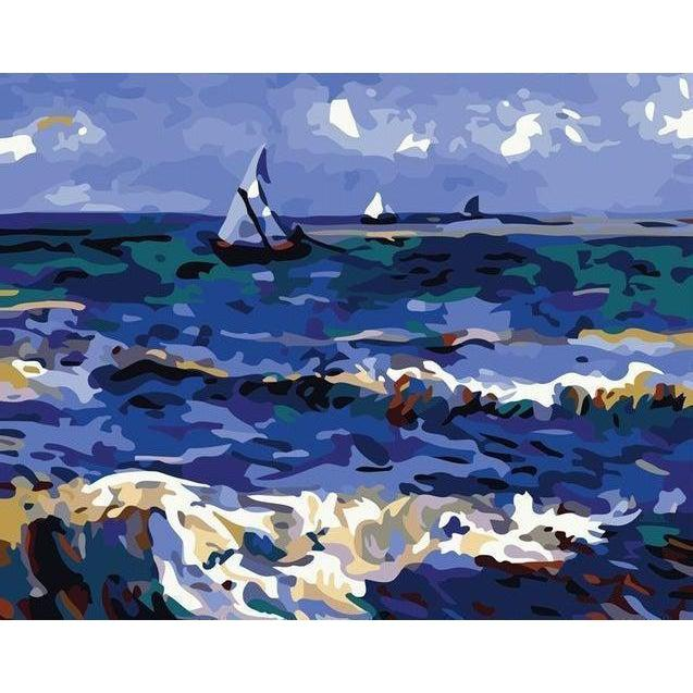 DIY Paint by Number kit for Adults on Canvas-The Saintes Ocean - Van Gogh-Clean PBN