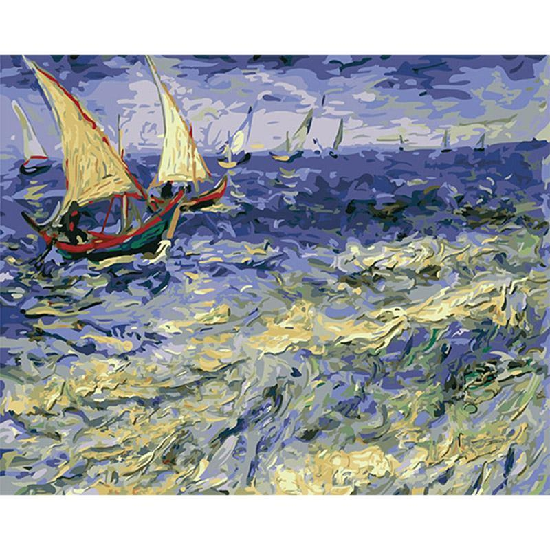 DIY Paint by Number kit for Adults on Canvas-The Sea at Les Saintes-Maries-de-la-Mer - Van Gogh - 1888-Painting & Calligraphy