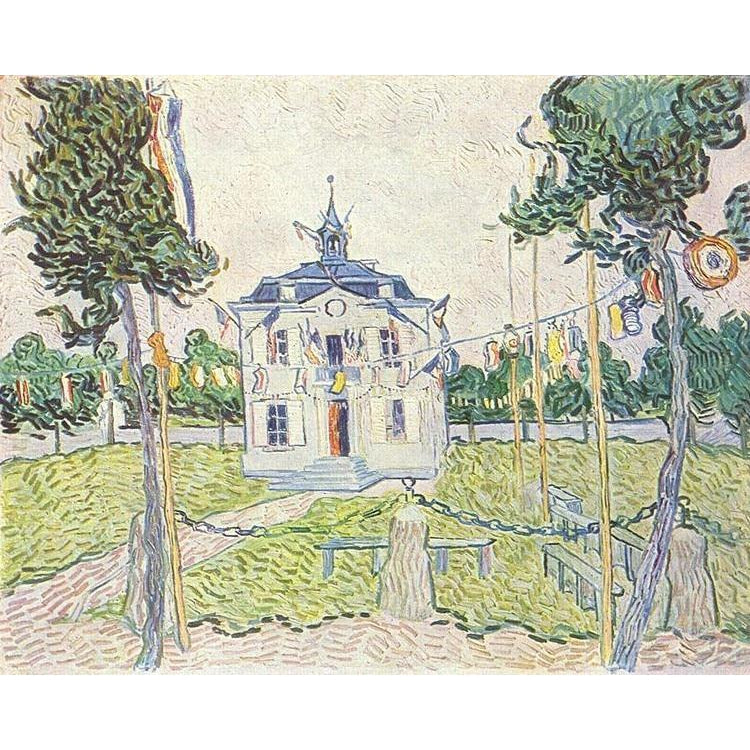 DIY Paint by Number kit for Adults on Canvas-The Town Hall at Auvers - Van Gogh - 1890-