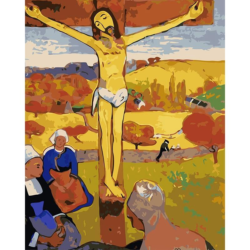 DIY Paint by Number kit for Adults on Canvas-The Yellow Christ 1889 - Paul Gauguin-Clean PBN