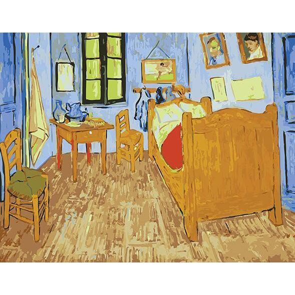DIY Paint by Number kit for Adults on Canvas-The Yellow House - Van Gogh-Clean PBN