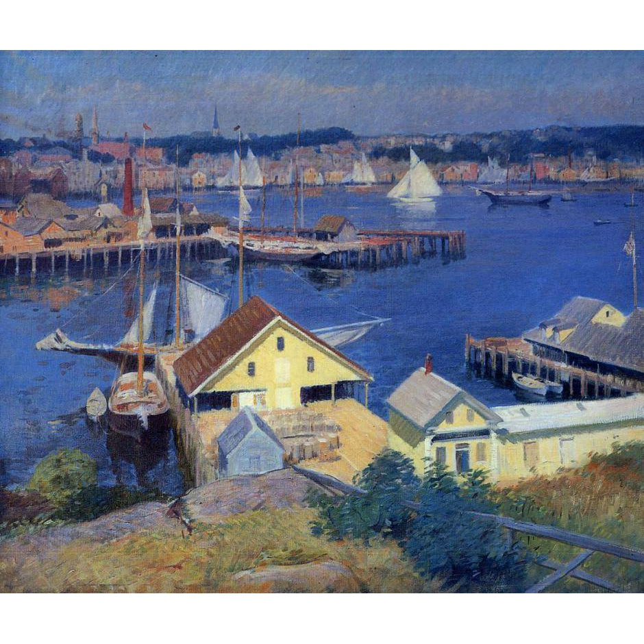 DIY Paint by Number kit for Adults on Canvas-The Yellow Pier Shed - Frank Duveneck - 1910-