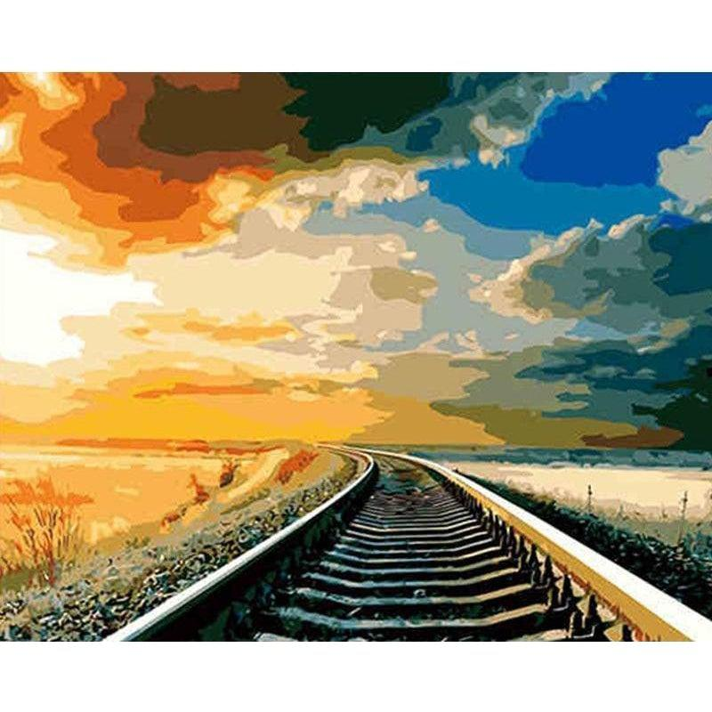 DIY Paint by Number kit for Adults on Canvas-Train Tracks-40x50cm (16x20inches)