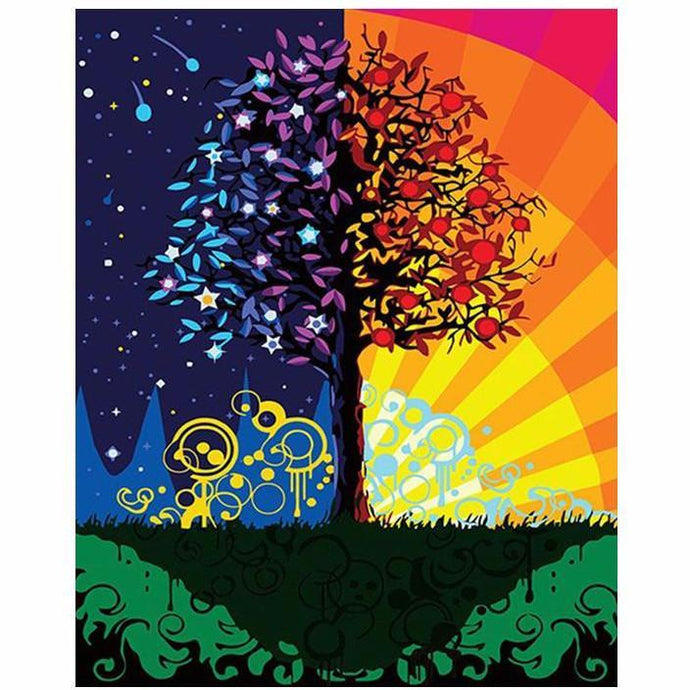 DIY Paint by Number kit for Adults on Canvas-Tree for a Day-40x50cm (16x20inches)