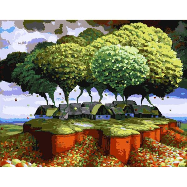 DIY Paint by Number kit for Adults on Canvas-Tree Town-40x50cm (16x20inches)