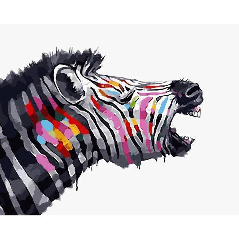 DIY Paint by Number kit for Adults on Canvas-Tribal Zebra-40x50cm (16x20inches)