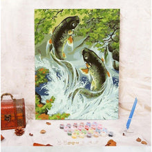 DIY Paint by Number kit for Adults on Canvas-Trout Trot-