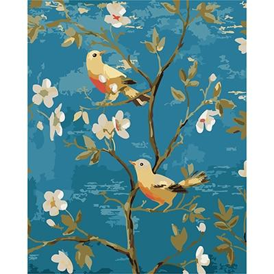 DIY Paint by Number kit for Adults on Canvas-Two Birds on a Branch-40x50cm (16x20inches)