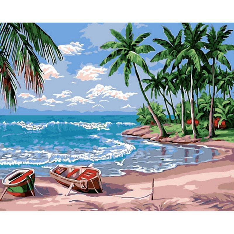 DIY Paint by Number kit for Adults on Canvas-Uncharted Island Paradise-40x50cm (16x20inches)