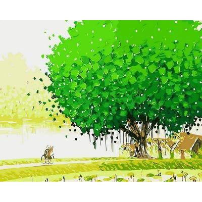 DIY Paint by Number kit for Adults on Canvas-Under the Mulberry Tree-40x50cm (16x20inches)