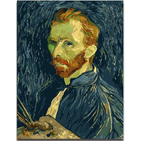 DIY Paint by Number kit for Adults on Canvas-Van Gogh Self Portrait - Van Gogh-Clean PBN