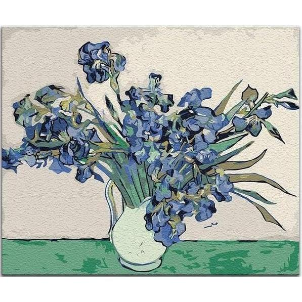 DIY Paint by Number kit for Adults on Canvas-Vase with Irises - Van Gogh-Clean PBN