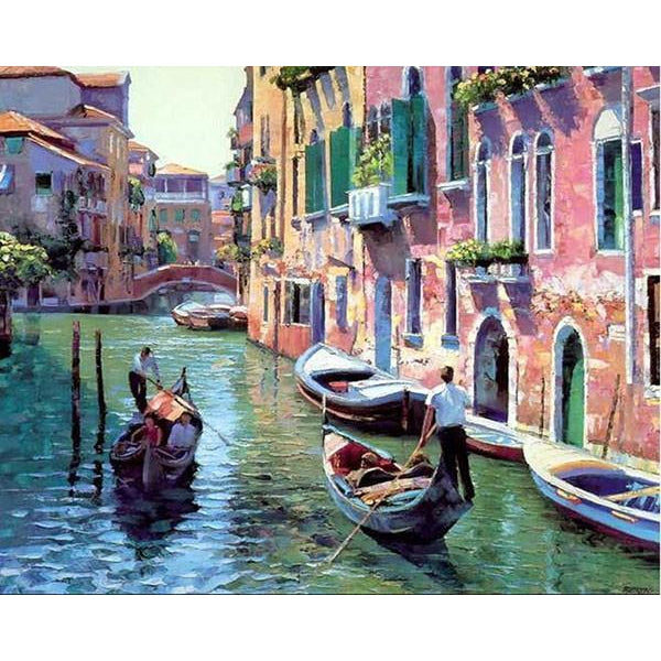 DIY Paint by Number kit for Adults on Canvas-Venice Italy Gondola Ride-40x50cm (16x20inches)