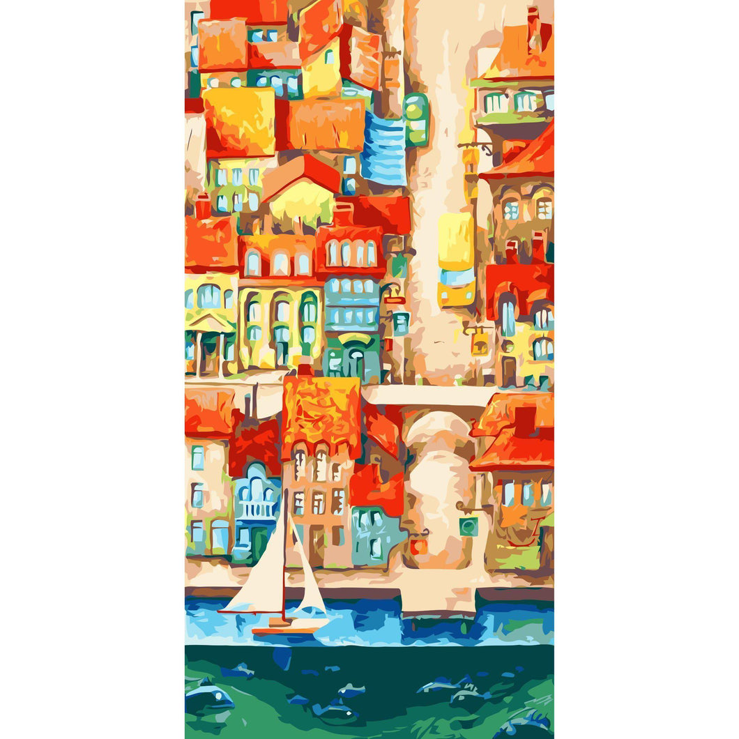 DIY Paint by Number kit for Adults on Canvas-Vertical City [EXTRA Large Print]-40x80cm (16x32inches)
