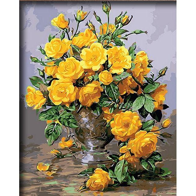 DIY Paint by Number kit for Adults on Canvas-Vibrant Yellow Flowers-40x50cm (16x20inches)