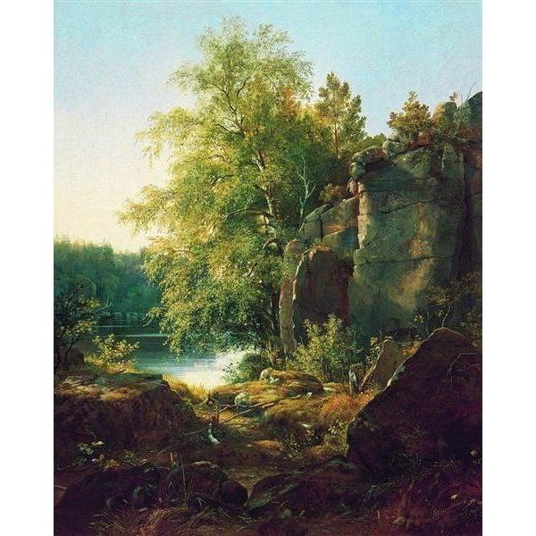 DIY Paint by Number kit for Adults on Canvas-View of Valaam Island - Ivan Shishkin - 1858-Clean PBN