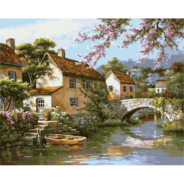 DIY Paint by Number kit for Adults on Canvas-Villa by the Bridge-40x50cm (16x20inches)