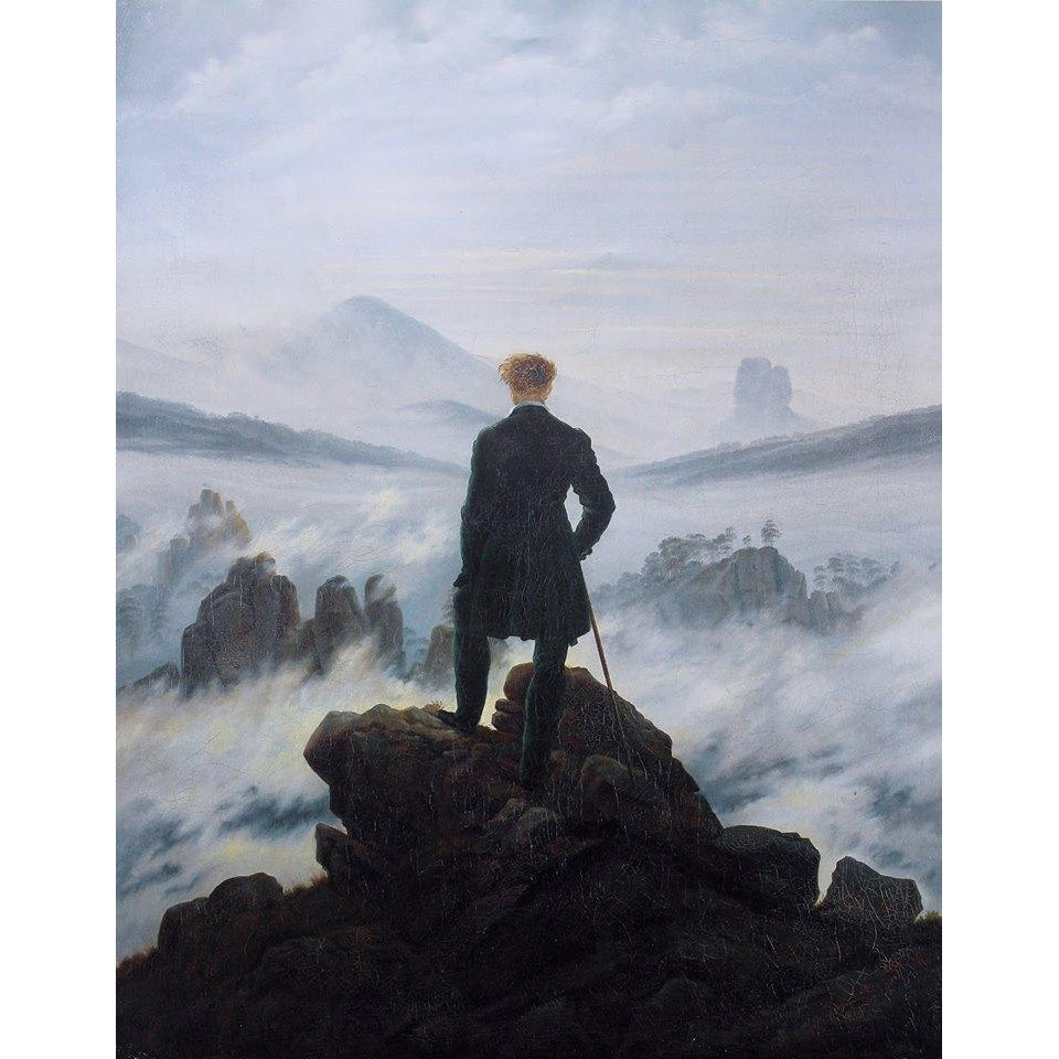 DIY Paint by Number kit for Adults on Canvas-Wanderer Above the Sea of Fog - Caspar David Friedrich - 1818-Clean PBN