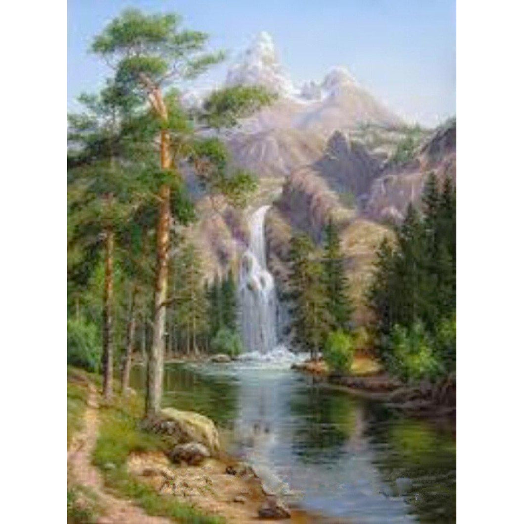 DIY Paint by Number kit for Adults on Canvas-Waterfall on Mountain-40x50cm (16x20inches)