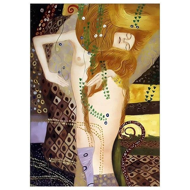 DIY Paint by Number kit for Adults on Canvas-Watersnakes - Gustav Klimt-Clean PBN