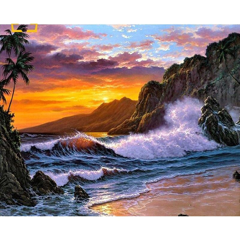 DIY Paint by Number kit for Adults on Canvas-Waves in the Sunset-40x50cm (16x20inches)