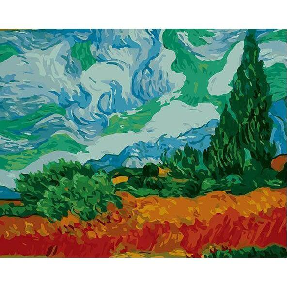 DIY Paint by Number kit for Adults on Canvas-Wheatfield - Van Gogh-Clean PBN
