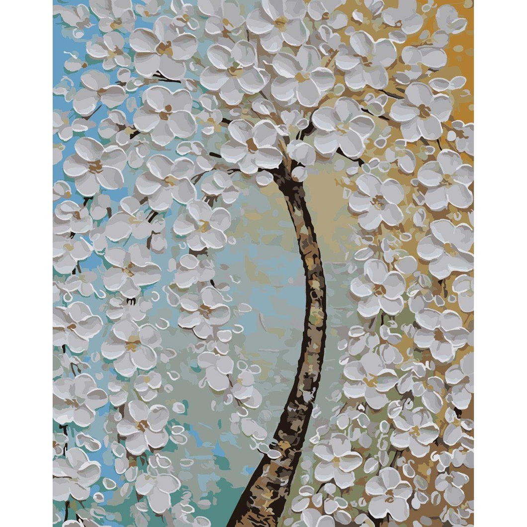 DIY Paint by Number kit for Adults on Canvas-White Bloom-40x50cm (16x20inches)
