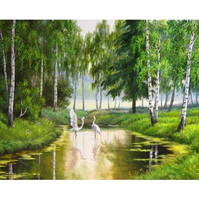White Flamingos in the Green Birch Wood - Paint by Numbers Kit