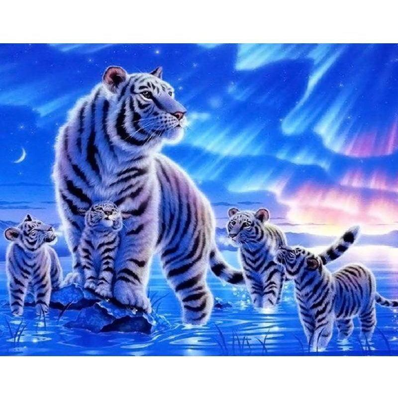 DIY Paint by Number kit for Adults on Canvas-White Night tiger-40x50cm (16x20inches)