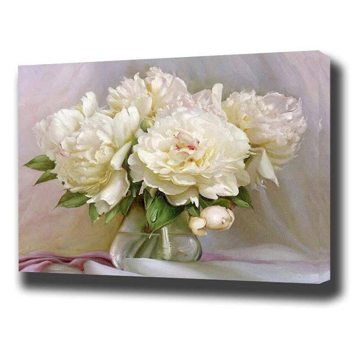 DIY Paint by Number kit for Adults on Canvas-White Roses-40x50cm (16x20inches)
