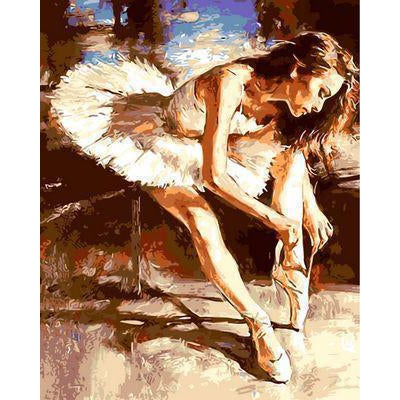 DIY Paint by Number kit for Adults on Canvas-White Swan Beautiful Ballerina-40x50cm (16x20inches)